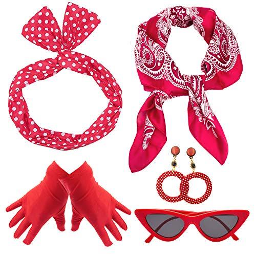 Yansion 50er-Jahre-Kostüm-Accessoires, gepunktet, Schal, Katzenauge, Brille, Stirnband, Ohrringe und Handschuhe, Kostüm-Zubehör für Damen, Kinder, Rollenspiel-Party ()