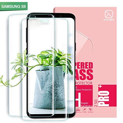 Youer Galaxy S9 Panzerglas Schutzfolie, [2 Stück] Full Coverage HD Ultra Klar Abdeckung Gehärtetem Glas, HD Displayschutzfolie, 9H Härte, Anti-Fingerabdruck, Blasenfreie 3D Hartglas - Transparent