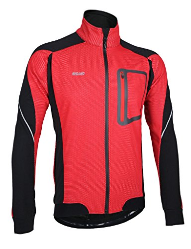 iCREAT Herren Jacke Air Jacket Winddichte wasserdichte Lauf- Fahrradjacke MTB Mountainbike Jacket Visible reflektierend, Fleece Warm Jacket für Herbst, ROT Gr.XL