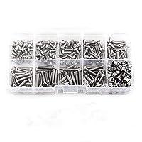 Walfront 280pcs M3 Stainless Steel SS304 Hex Socket Button Head Screws Locknuts Assortment Kit with Storage Box