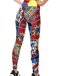 Mallas Deporte Mujer Leggins Yoga Pantalón Medias Deportivas Patrón de Dibujos Animados Gym Pantalones Deportivos Elástico