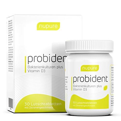 Nupure Probident - Bakterienkulturen für die Mundflora, Lutschtabletten mit Zitronengeschmack, Frischer Atem gegen Mundgeruch. Mundhygiene ohne Mundspülung, Mundwasser, Munddusche und Zungenreiniger