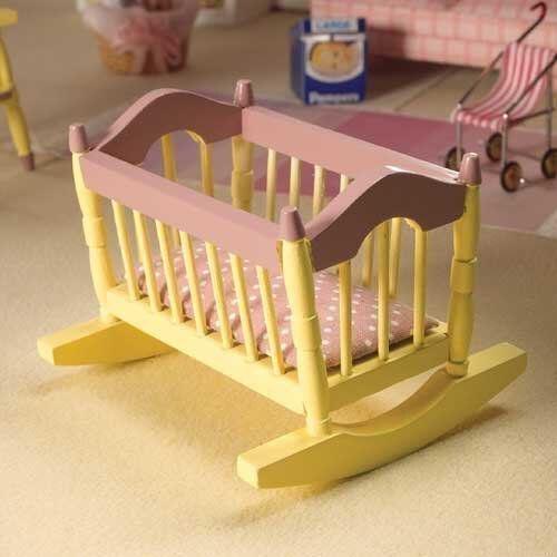 The Dolls House Emporium Baby-Wiege creme/pink Puppenhaus 2166