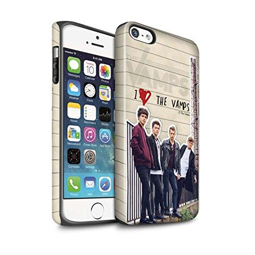 Officiel The Vamps Coque / Matte Robuste Antichoc Etui pour Apple iPhone SE / Pack 5pcs Design / The Vamps Journal Secret Collection Groupe