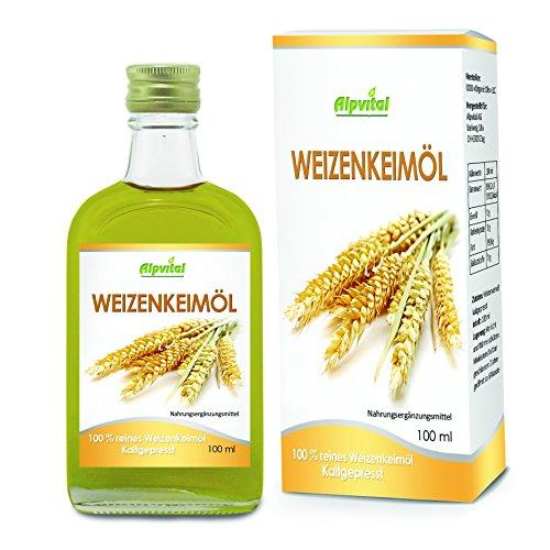 Alpvital Weizenkeimöl 100% rein kaltgepresst 100ml - Cholesterin Abwehrkräfte Haut