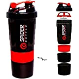 CP BIGBASKET 500 Ml Protein Shaker Gym Bottle With 2 Storage Compartments And 1 Pill Tray (Red)