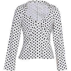 ZAFUL Mujer Vintage Blusa lunares Camisas Camiseta Mangas Largas Elastico Short Tops Blanco XL
