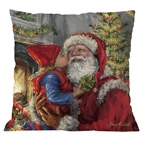 TEBAISE Festival Kissenhülle Kissenbezug 45cmx45cm Dekokissen Fotodruck - Weihnachtsmann-Motiv Karneval Fasching Fasnacht ()
