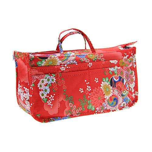 Bedruckter Einsatz Handtasche Geldbörse Organizer 13 Taschen erweiterbar Liner Bag Pouch Reißverschluss Tote (29 x 16 x 9 cm) Festliche Blume -