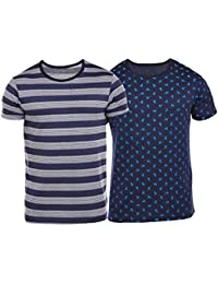 VIMAL Overall Print Navy And Navy Blue Striped Printed Tshirts For Men(Pack Of 2)