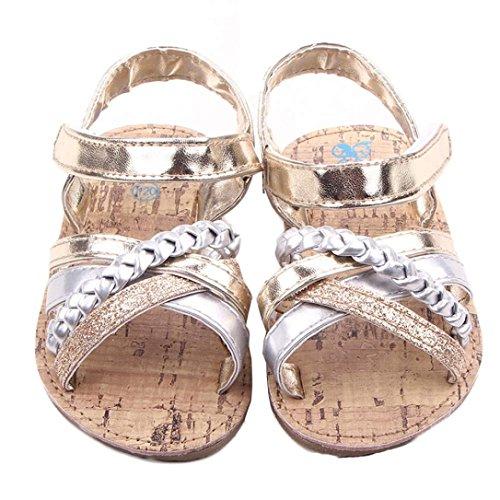 K-youth® Sandalias de Vestir Niña Moda Zapatos Bebe Niña Verano Bebé Al Aire Libre Sandalias Niño Pequeño Princesa Primeros Andadores Niñas Zapatos Bebe Recien Nacido (13(12-18 Mes), Dorado)