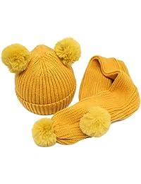 Tukistore Infantil Conjunto de Bufanda de Sombrero Invierno cálido  Sombreros de Punto Capucha Bufanda con Pompom 7fd20ff6df7