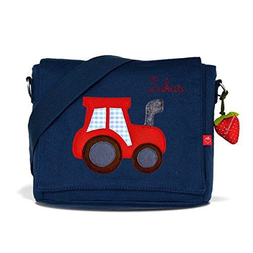Kindergartentasche & Kindergartenrucksack in einem: Traktor für Jungen (mit Namen) in blau