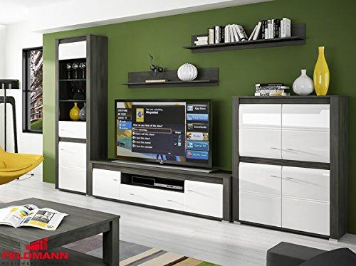 Wohnzimmer komplett 1662021 Wohnwand 5-teilig schwarzkiefer / weiß Hochglanz