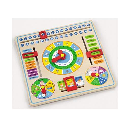 Hölzerne Kalenderuhr, Kinder hängen Borduhr frühe pädagogische Puzzle lernen Spielzeug - Uhrzeit Datum Saison Wetter