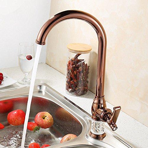 her Kupfer europäischen antiken Wasserhahn Retro-Spüle Spüle heiß und kalt Roségold Wir bieten eine Reihe von Küchen- und Badarmaturen.Wir freuen uns auf Ihren Besuch. ()