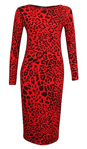 Islander Fashions Womens Impreso Bodycon Vestidos Midi Se�oras de Manga Larga El�stico Midi Dress Leopardo Rojo X Large