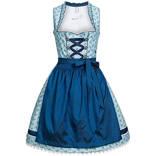 Midi Dirndl Antje in Blau von Marjo Trachten, Größe:36;Farbe:Blau