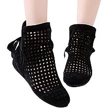 Botas de Mujer Huecas, Planas Ocultas Bajas cuñas Botines de Tobillo Zapatos Ocasionales