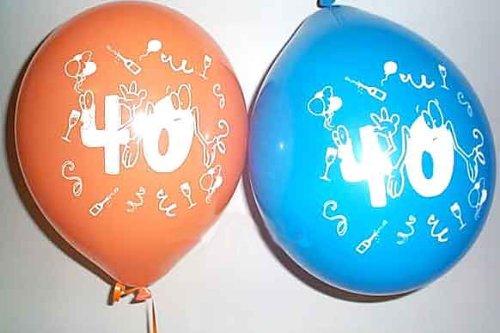 1 Pack. mit 10 Stück 'Zahlen-Ballon 40' Latex-Rundballon, bunt, ca. 25 cm Ø