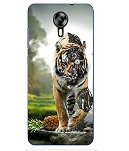 Case Cover Lion Printed Yellow Hard Back Cover For MEIZU M2