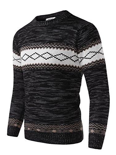 Long Sleeve Knit Tee (KAIUSI Herren Rundkragen Slim Fit Kontrastfarbe Pullover Dunkelgrau X-Large)