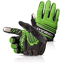 LYCAON Cycling Gloves, Silicone Gel, EVA Padding Cushion, Lycra Mesh, Ottoman Fabric, Touch Screen, Skid Resistance, Riding Bicycle Bike Full Finger Mitten Gel Padded Glove for Mountain Road Bike MTB BMX Cruiser Outdoor Sports Men Women (3 Size, 4 Colors) (Verde, L)