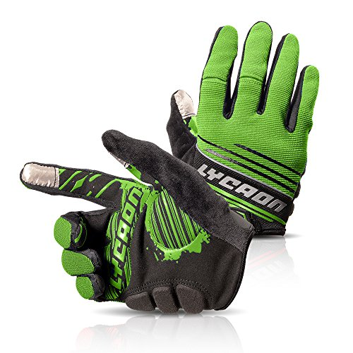 LYCAON Cycling Gloves, Silicone Gel, Eva Padding Cushion, Lycra Mesh, Ottoman Fabric, Touch Screen, Skid Resistance, Riding Bicycle Bike Full Finger (3 Size, 4 Colors) (Verde, XL)