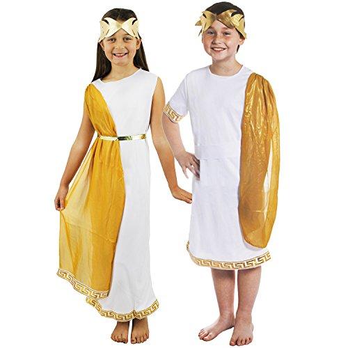 Kostüm Mädchen Paare - ILOVEFANCYDRESS RÖMISCHES +GRIECHISCHES Tunika KOSTÜM Verkleidung FÜR Kinder Paare= GÖTTIN und CÄSAR =Fasching Karneval = MÄDCHE-Small + Junge-Medium