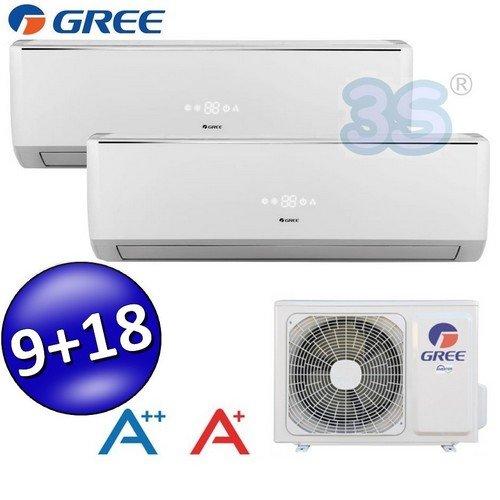 Climatizzatore inverter dual split LOMO 9000 + 18000 Btu GREE classe A++/A+ - con pompa di calore /