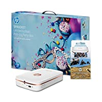 HP Sprocket Photo Printer Bundle White With HP 2x3 Inch Zink Sticker Photo Paper for HP Sprocket Printer - 50 Sheets