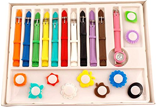 faas Analogue Multi-Colour Dial Girl's Watch With 11 Interchangeable Dial And 11 Strap(Fw0054)