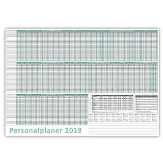 Urlaubsplaner / Personalplaner 2019 nass abwischbar DIN B1 Format (1000 x 700 mm) für 22 Mitarbeiter - Jan 2019 bis März 2020, mit Schulferien (gerollt!)