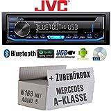 Mercedes A-Klasse W169 Audio 5 - Autoradio Radio JVC KD-T706BT   Bluetooth   Spotify   MP3   USB   Android   CD - Einbauzubehör - Einbauset