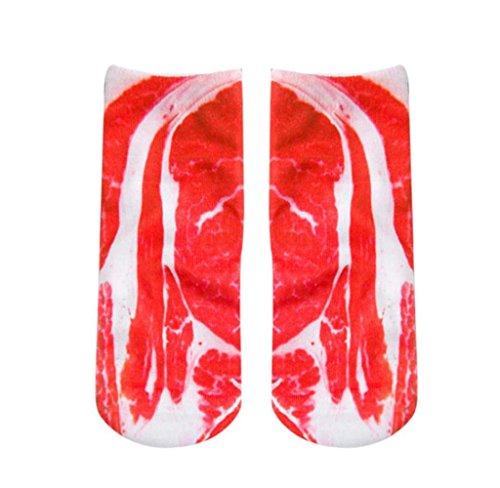 Amcool Unisex 3D gedruckt Lustige Low Cut Socken Athletische Knöchelsocken (Rot Panceta) (Athletische Knöchel Socken)