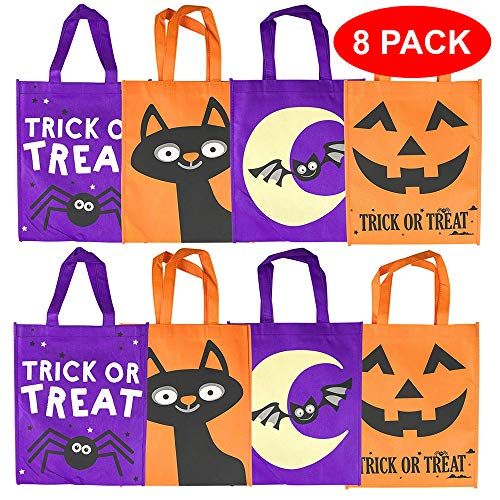 THE TWIDDLERS Halloween Stofftaschen Geschenktachen - 4 Verschiedene grueselige Designs - Taschen Perfekt für Trick or Treat, Mitgebsel, Leckerlis, Partytaschen, (Kürbis Tasche)