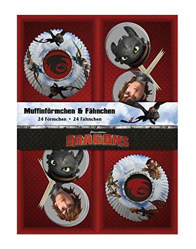 Preisvergleich Produktbild p:os 25683 - 24 Muffinförmchen mit 24 Fähnchen DreamWorks Dragons im Geschenkkarton