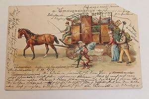 PK Postkarte gelaufen Umzugsanzeige Wohnungsverlegung Freiburg Kutsche Pferd