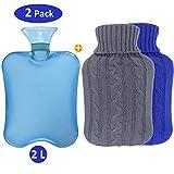 Philonext Paquete de 2 botellas de agua caliente con fundas tejidas - Funda de botella de tejido extraíble y lavable - Alivio rápido del dolor y comodidad (Blue)