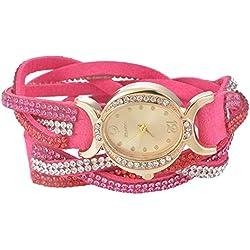 SSITG Women's Watch Analogue Quartz Clock Oval Rhinestone Wrap Bracelet Leather Bracelet