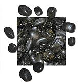 5 kg Polierter Kiesel Glanzkies Flusskiesel Kieselsteine Ziersteine Gartenkies Zierkies schwarz Körnung 30/50 mm