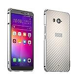 HTC U11 Hülle,U11 Metall Cover,WIWJ Handyhülle Metall Case Cover 2 in 1 Aluminium Bumper Case Kohlefaser mit Anti-Kollision Kunststoff Schutzhülle für HTC U11-Silber