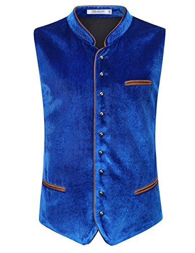 KOJOOIN Trachten Set Herren Lederhose Trachten Weste Trachtenlederhose Kniebundhose mit Trägern für Bayerisch, Oktoberfest, Hochzeit (Verpackung - Blaue Lederhosen Kostüm