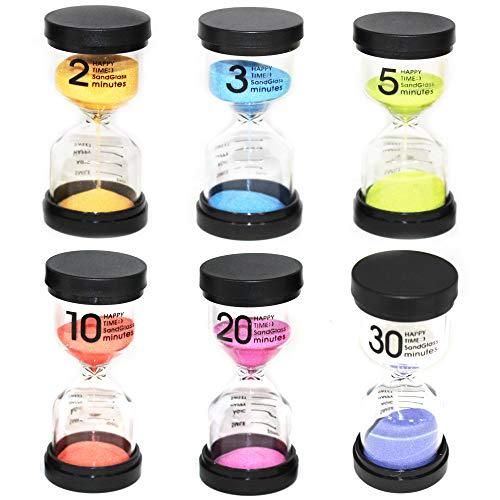 Moji Toys Paquete de 6 Diferentes Relojes de Arena - con Varios Tiempos - 6 Colores Brillantes Surtidos hogar - Aula - Cocina - Oficina y más