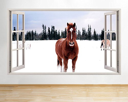 tekkdesigns G081Snow Winter Pferd Bereich Living Fenster Wand Aufkleber 3D Kunst Aufkleber Vinyl Raum (Snow-bereich)