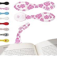 Lampe de lecture marque page, liseuse livre à pince LED flexible, pliable - Lumière de voyage, pour musiciens, livres, eReaders - Lampe d'appoint - Fleurs Roses