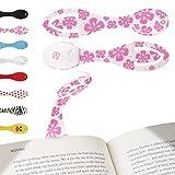 Lampada per leggere a letto - Luce LED e segnalibro flessibile Clip on - Batterie incluse - Regalo di Compleanno perfetto per gli amanti dei libri - Fiori Rosa