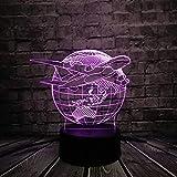 Luce notturna 3D L'aereo 3D modella le luci decorative di 7 variazioni di colore della luce fantasma della luce notturna. Cintura regalo regalo per bambini