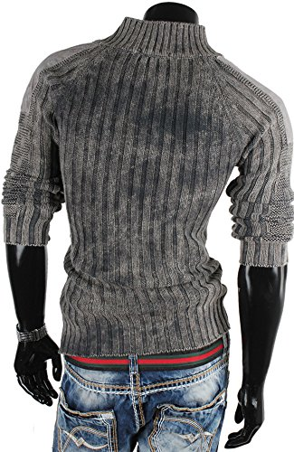 Tazzio pull-over pour homme en tricot pull sweat veste en tricot Gris - Anthracite