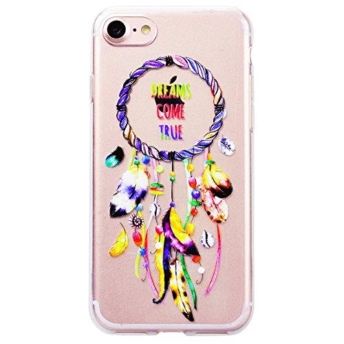 HB-Int Hülle für iPhone 7 Silikon Transparent mit Muster 3D Drucken Ultra Dünn Schutzhülle Flexible Case Weich TPU Bumper Durchsichtig Handytasche - Liebe Herz Traumfänger